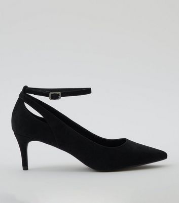 Black Suedette Kitten Heel Pointed Court Shoes