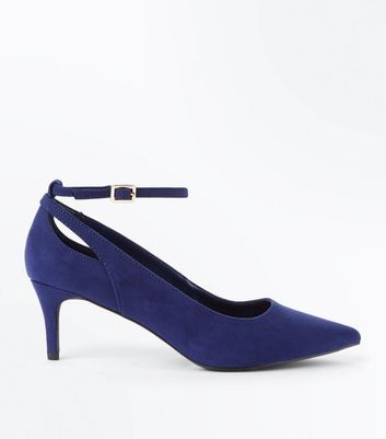 Navy Suedette Kitten Heel Pointed Court Shoes