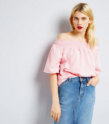 QED Mid Pink Stripe Bardot Neck Top