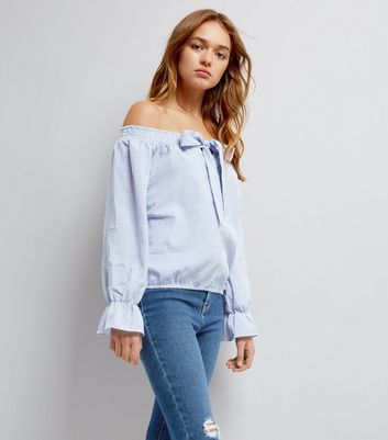 QED Blue Stripe Bow Front Bardot Top