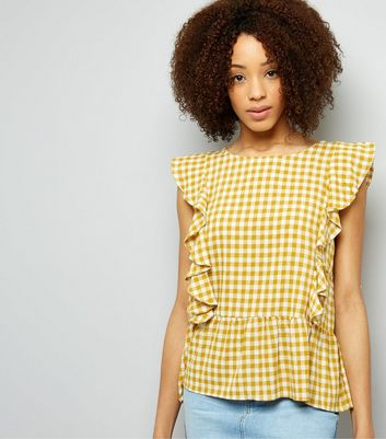 QED Orange Gingham Frill Trim Top