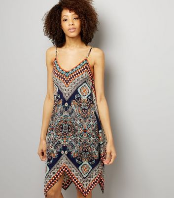QED Navy Paisley Print Hanky Hem Dress