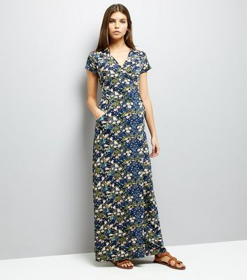QED Navy Floral Print Wrap Front Maxi Dress