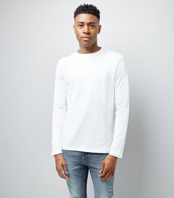 White Long Sleeved Crew Neck T-Shirt