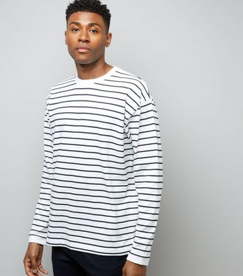 White Stripe Long Sleeve Oversized T-Shirt