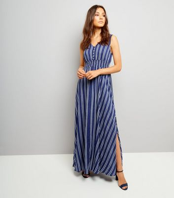 Blue Vanilla Blue Stripe Split Side Maxi Dress