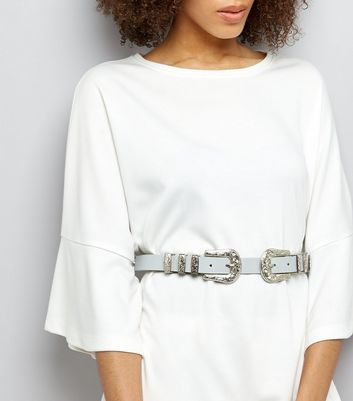 Grey Double Western Buckle Waist Belt