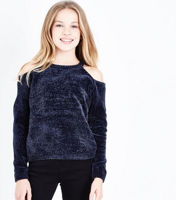 Teens Navy Cold Shoulder Chenille Jumper