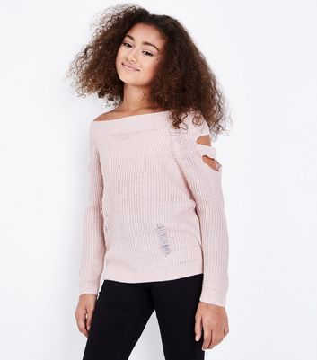 Teens Pink Cut Out Sleeve Distressed Bardot Jumper