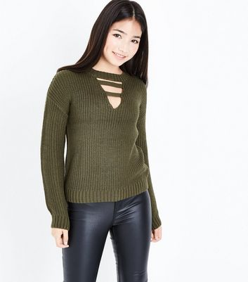 Teens Khaki Lattice Choker Neck Jumper