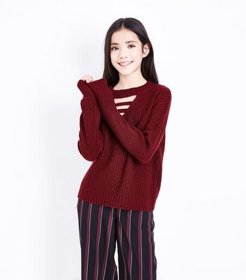 Teens Burgundy Lattice Front Jumper