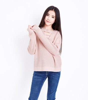 Teens Shell Pink Lattice Front Jumper
