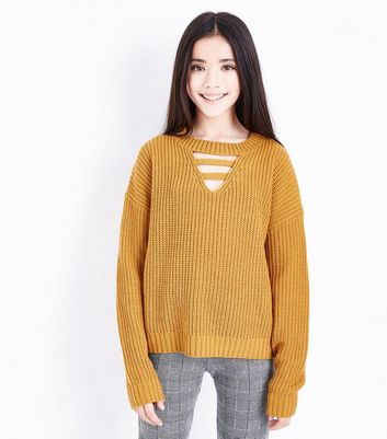Teens Yellow Lattice Front Jumper by New Look