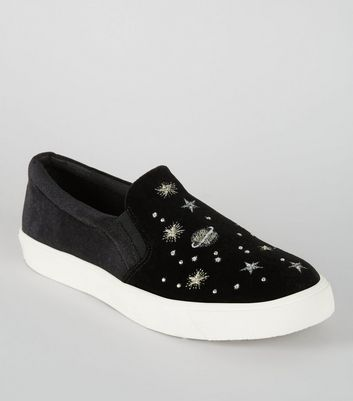 Black Velvet Cosmic Embroidered Slip On Plimsolls