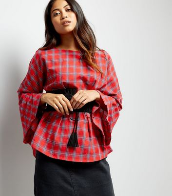 Petite Red Check Pattern Ruffle Sleeve Corset Top