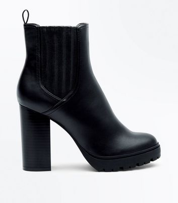 Black Leather Look Block Heel Boots
