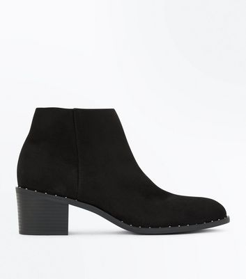Black Stud Trim Heeled Ankle Boots