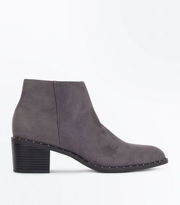 Grey Stud Trim Heeled Ankle Boots