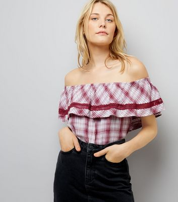 Red Check Bardot Neck Top