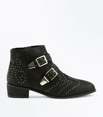 Black Leather Stud Buckle Western Boots