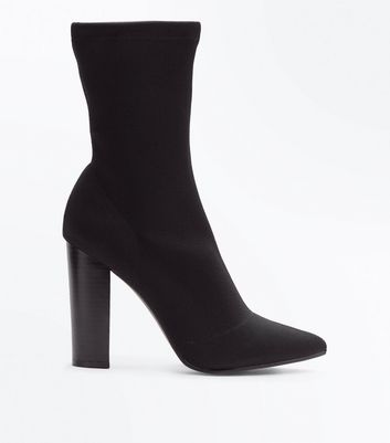 Black Knitted Block Heel Sock Boots