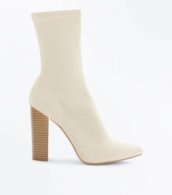 Cream Knitted Block Heel Sock Boots