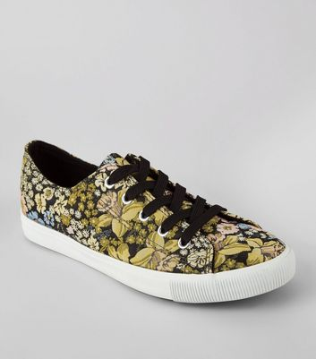 Black Floral Brocade Lace Up Trainers