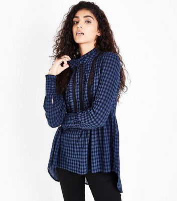 Blue Check Lace Trim Dip Hem Blouse