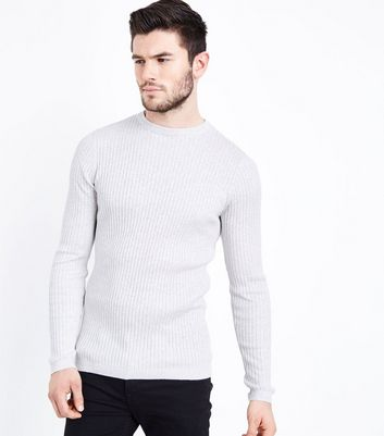 White Cotton Ribbed Jumper