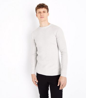 Cream Cotton Ribbed Jumper