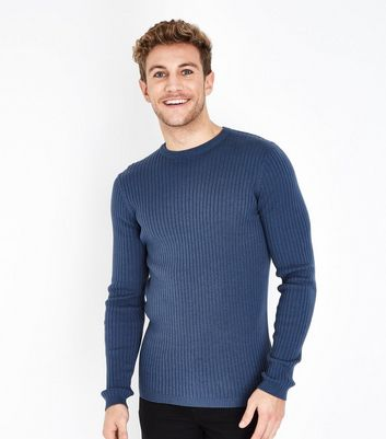 Blue Cotton Ribbed Jumper