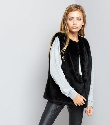 Teens Black Faux Fur Gilet