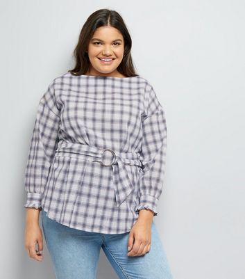 Curves White Check Waist Belt Top