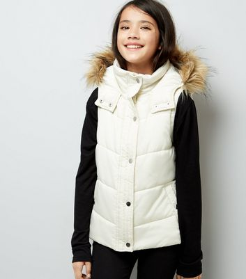 Teens Cream Faux Fur Trim Padded Gilet