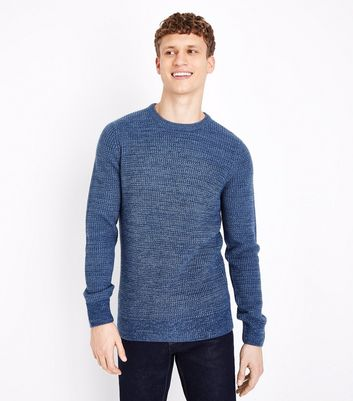 Blue Textured Crew Neck Jumper