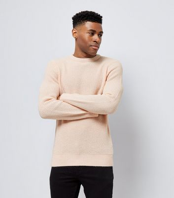 Pink Crew Neck Textured Jumper