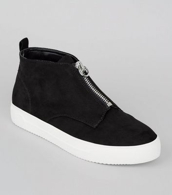 Black Zip High Top Suedette Trainers