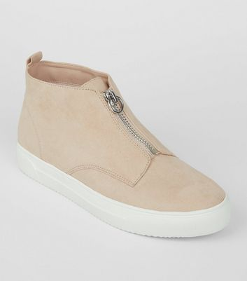 Cream Zip High Top Suedette Trainers