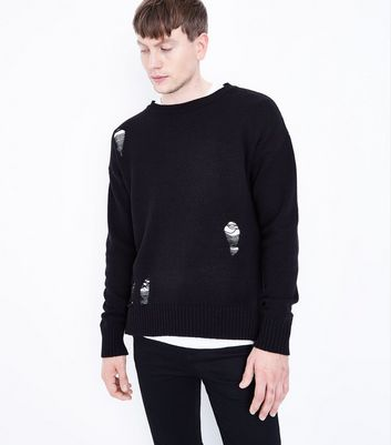 Black Ripped Crew Neck Jumper