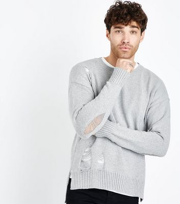 Grey Ripped Longline Crew Neck Jumper