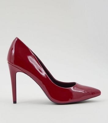 Red Patent Pointed Court Shoes