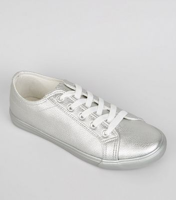 Wide Fit Silver Lace Up Trainers