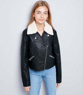 Teens Black Shearling Collar Leather-Look Jacket