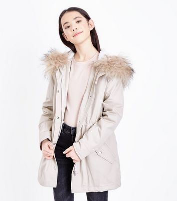Teens Stone Faux Fur Trim Hooded Parka