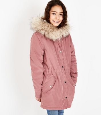 Girls Mid Pink Faux Fur Trim Hooded Parka