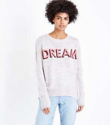 Pale Grey Dream Slogan Jumper