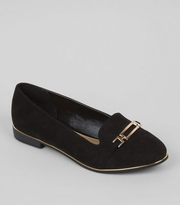 Wide Fit Black Metallic Trim Loafers