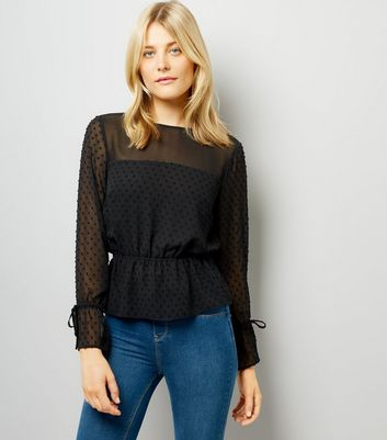 Black Spot Textured Chiffon Top