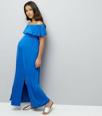 Maternity Blue Frill Trim Bardot Neck Maxi Dress