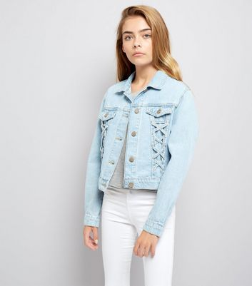 Teens Blue Lace Up Denim Jacket